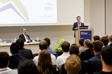 Markus Elsässer (CEO, Solar Promotion GmbH) welcomes the audience at Intersolar Europe 2015